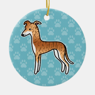 Red Brindle Greyhound / Whippet Christmas Ornament