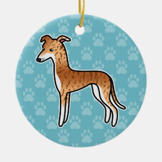 Red Brindle Greyhound / Whippet Round Ceramic Decoration