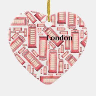 Red British phone booth heart ornament