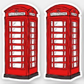 Red British phone box booths