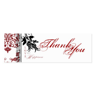 Red Brocade TY Skinny Gift Tag Business Card