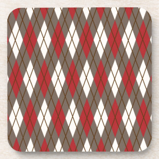 Red, Brown and Cream Argyle Coasters