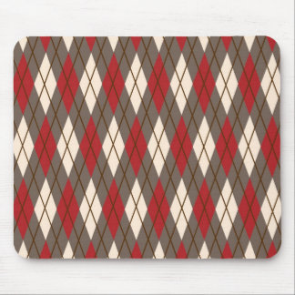 Red, Brown and Cream Argyle Mouse Pad
