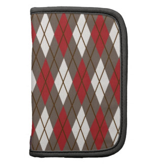 Red, Brown and Cream Argyle Folio Planners