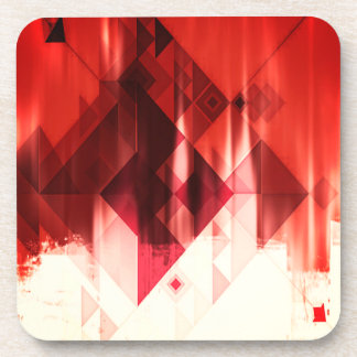 Red Brown And White Geometrical Pattern Coaster