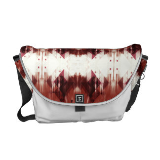 Red Brown And White Geometrical Pattern Commuter Bag