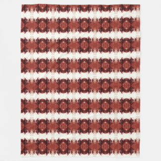 Red Brown And White Geometrical Pattern Fleece Blanket