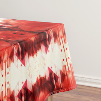 Red Brown And White Geometrical Pattern Tablecloth