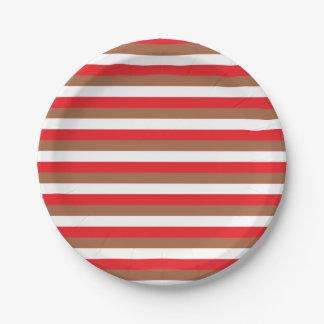 Red, Brown and White Stripes 7 Inch Paper Plate
