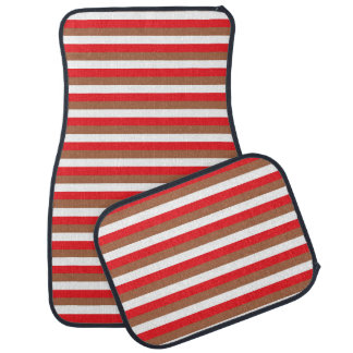 Red, Brown and White Stripes Car Mat