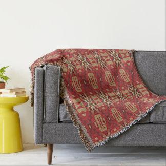 Red Brown Beige Orange Eclectic Ethnic Art Throw Blanket