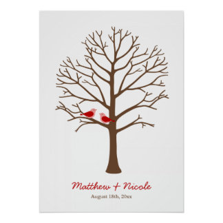Red Brown Birds Fingerprint Tree Wedding Poster