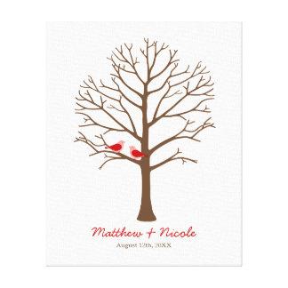 Red Brown Birds Fingerprint Tree Wedding Stretched Canvas Prints