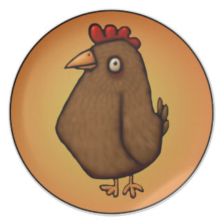 Red Brown Chicken Standing Tall Plate