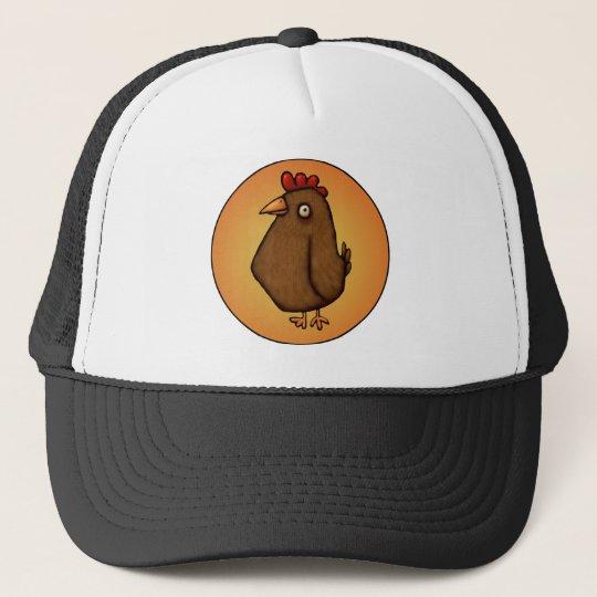 Red Brown Chicken Standing Tall Trucker Hat