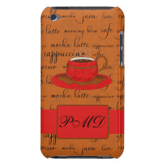 Red Brown Coffee Cup Art Script Words Backgtround Barely There iPod Cases