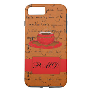 Red Brown Coffee Cup Art Script Words Monogram iPhone 7 Plus Case