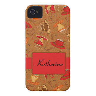 Red Brown Coffee Cup Pattern Custom Name iPhone 4 Covers