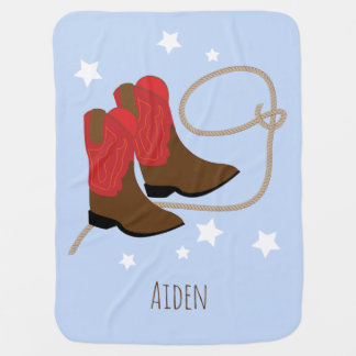 Red & Brown Cowboy Boots & Rope, Personalized Baby Blanket