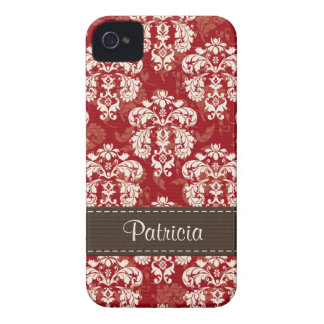 Red Brown Damask iPhone 4 /4s Case Mate Cover
