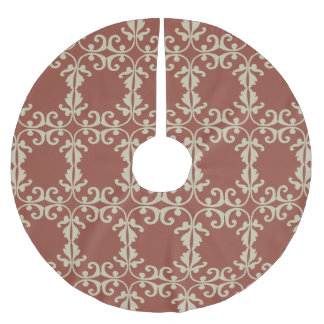 Red-Brown Florish Brushed Polyester Tree Skirt