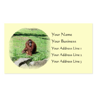Red-Brown Haired Orangutan Sitting On Grass Business Card