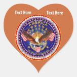 Red Brown Heart Sticker