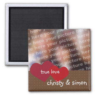 Red brown hearts true love custom photo valentine square magnet