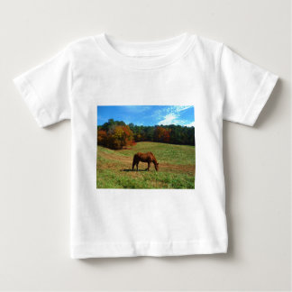 Red Brown horse, fall trees, blue skies Infant T-Shirt