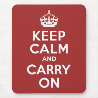 Red Brown Keep Calm and Carry On Mouse Mat