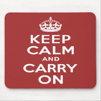 Red Brown Keep Calm and Carry On Mouse Pads