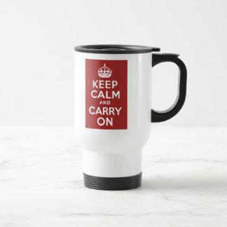 Red Brown Keep Calm and Carry On Travel Mug