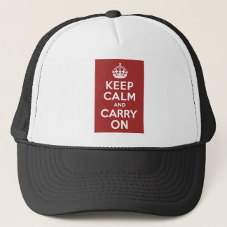 Red Brown Keep Calm and Carry On Trucker Hat