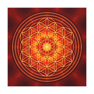 red brown orange yellow mandala with flower of lif gallery wrapped canvas