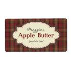 Red & Brown Plaid Apple Butter Jam Jar Labels