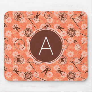 Red Brown Sewing Pattern with Monogram Mouse Mat