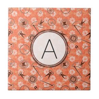 Red Brown Sewing Pattern with Monogram Ceramic Tiles