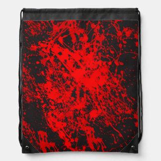Red Brush Splatter Drawstring Backpack
