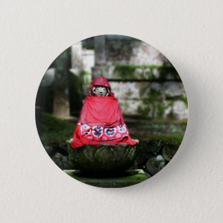 Red Buddha / Jizo in Forest 6 Cm Round Badge