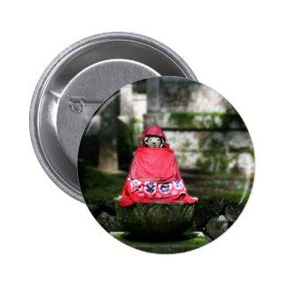 Red Buddha / Jizo in Forest 6 Cm Round Badge