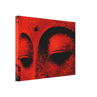Red Buddha Wrapped Canvas Stretched Canvas Print