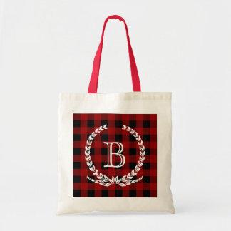 Red Buffalo Check Gingham Monogram Budget Tote Bag