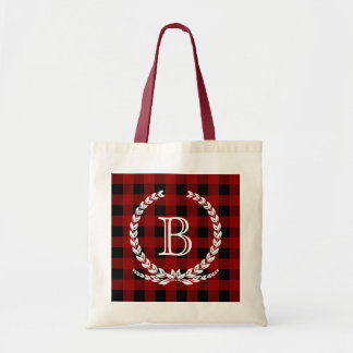 Red Buffalo Check Gingham Monogram Tote Bag