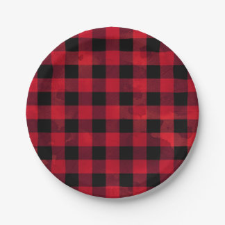 Red Buffalo Check Paper Plate