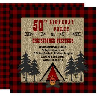 Red Buffalo Checks Man's Rustic Birthday Party Card