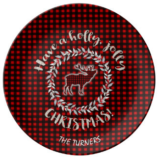 Red Buffalo Have a Holly Jolly Christmas Monogram Plate