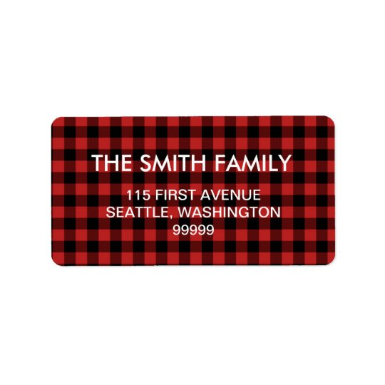 Red Buffalo Plaid Address Labels