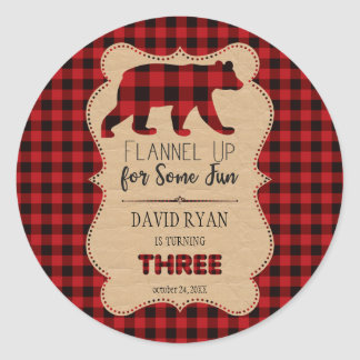Red Buffalo Plaid Birthday THREE Custom Classic Round Sticker
