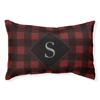 Red Buffalo Plaid Burlap Monogrammed Pet Bed