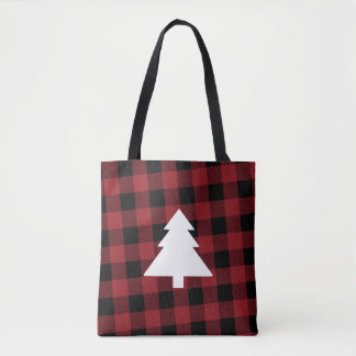 Red Buffalo Plaid Christmas Tree Tote